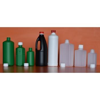 bouteille blanche ronde plast UN a/securité 1 lt